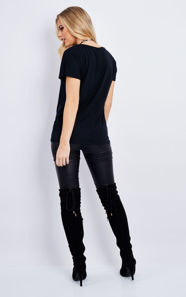 Black round neck oversized t-shirt by VM