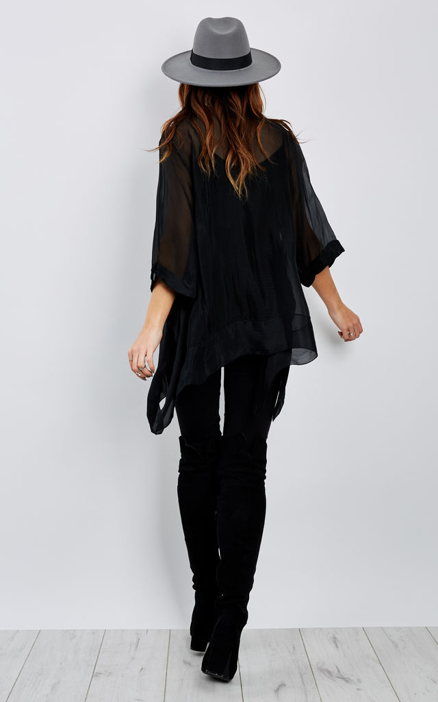 Black 2 In 1 Chiffon Trim 3/4 Sleeve Silk Top by Bella and Blue