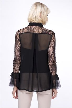 Lace and Chiffon Shirt by Zibi London