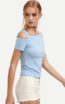 Baby blue cut out shoulder top by Pretty Sunday