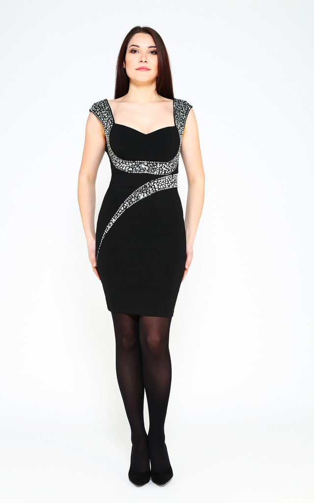 BLACK EMBELLISHED DETAIL BODYCON DRESS by Jezzelle