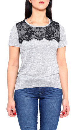 Eyelash Lace Detail Sheer Back  T-shirt by Jezzelle