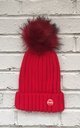 Red Beanie hat with faux fur pom pom by Frankies Brand
