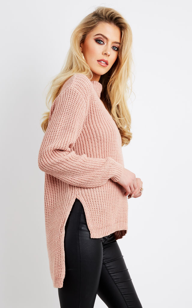 Pink Choker Neck Dip Hem Jumper by Bella and Blue