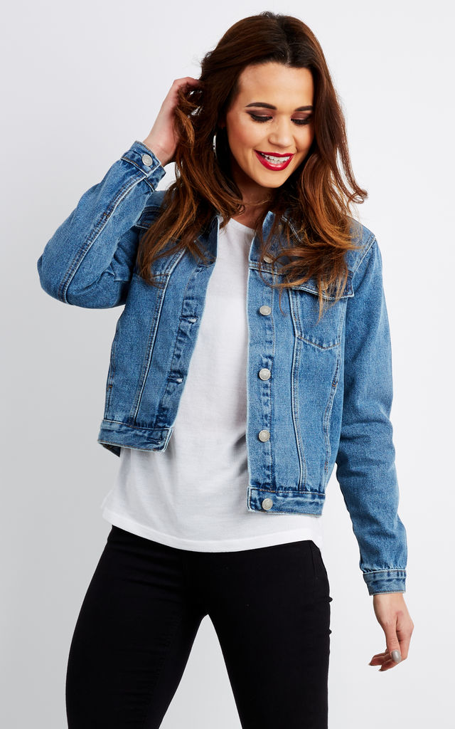 blue denim jacket with painted detail  glamorous  silkfred