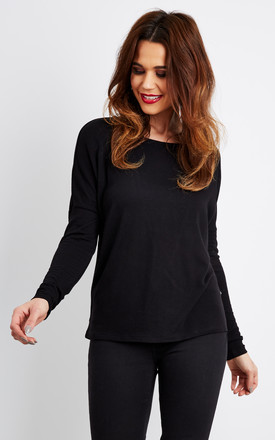 Black Long Sleeve Cut Out Back T Shirt by Noisy May