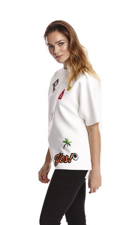 Liquorish Applique Badge Boxy Scuba Top by Liquorish