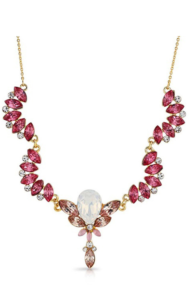 Leilani Pink Scalloped Jewel Necklace by Johnny Loves Rosie