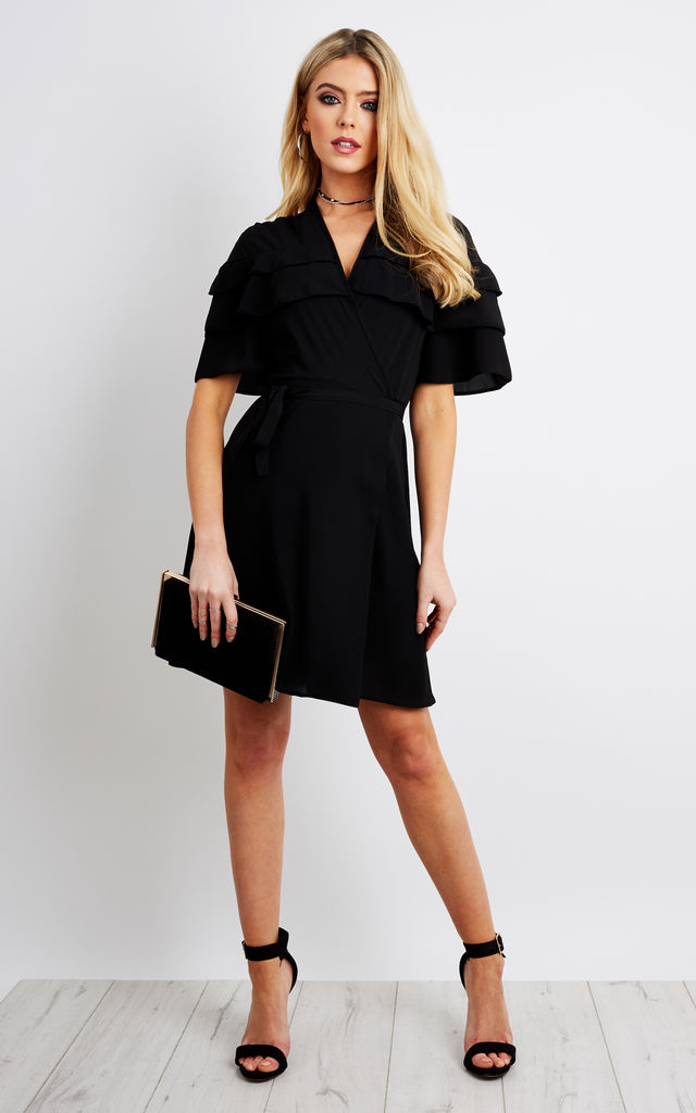 Black wrap dress with layered frill by John Zack