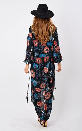 Long Sleeve Floral Deep Hem Tunic Dress With Tassel by ASTR