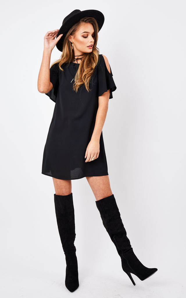 Cold Shoulder Frill Arm Shift Dress by Glamorous
