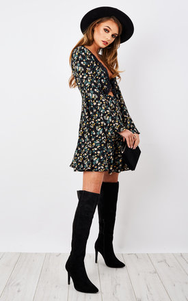 BLACK VINTAGE FLORAL LONG SLEEVE FLARED DRESS by Glamorous