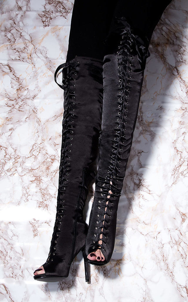 ZENTRIX Ribbon Lace Up High Heel Stiletto Thigh Boots - Black Satin Style by SpyLoveBuy