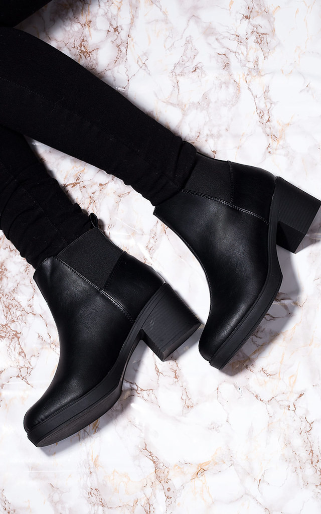 POPCORN Block Heel Chelsea Ankle Boots - Black Leather Style by SpyLoveBuy