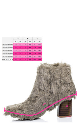 DRAGOON Synthetic Furry Hairy Block Heel Ankle Boots Shoes - Taupe by SpyLoveBuy