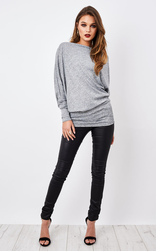 Grey Off The Shoulder Long Sleeve Top by Lilah Rose