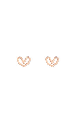 Sterling Silver Heart Stud Earrings Rose Gold Vermeil by DOSE of ROSE