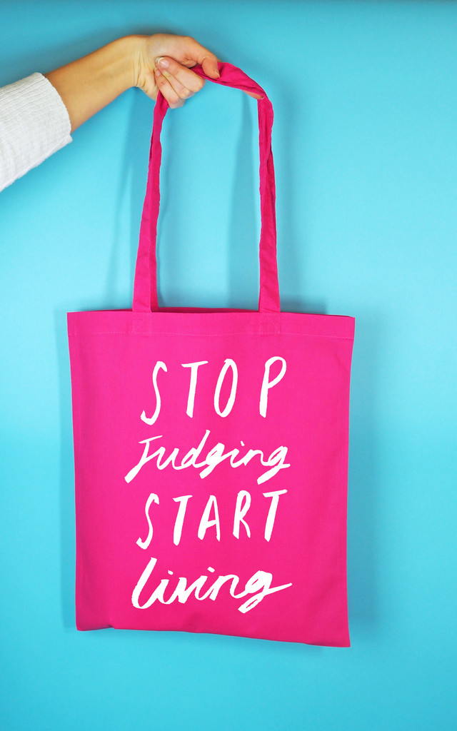 Hot Pink 'Stop Judging' Tote Bag by Rock On Ruby