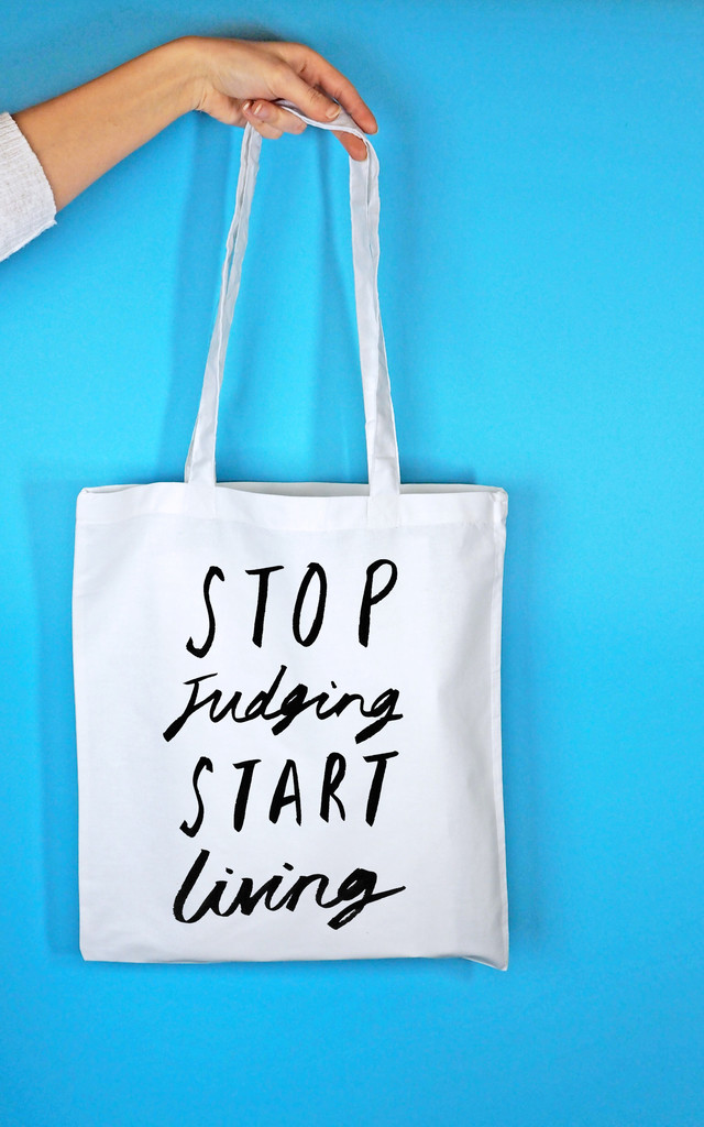 'Stop Judging' Tote Bag in White by Rock On Ruby