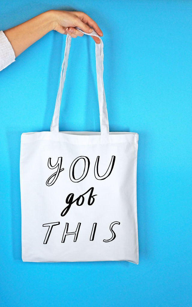 'You Got This' Tote Bag in White by Rock On Ruby