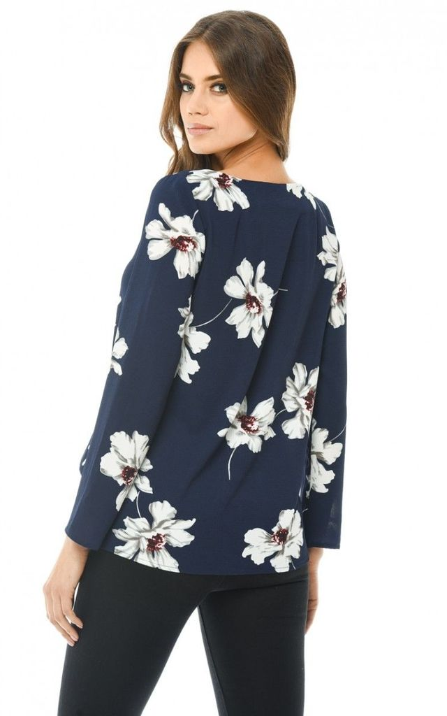 NAVY LONG SLEEVE PRINTED BLOUSE by AX Paris