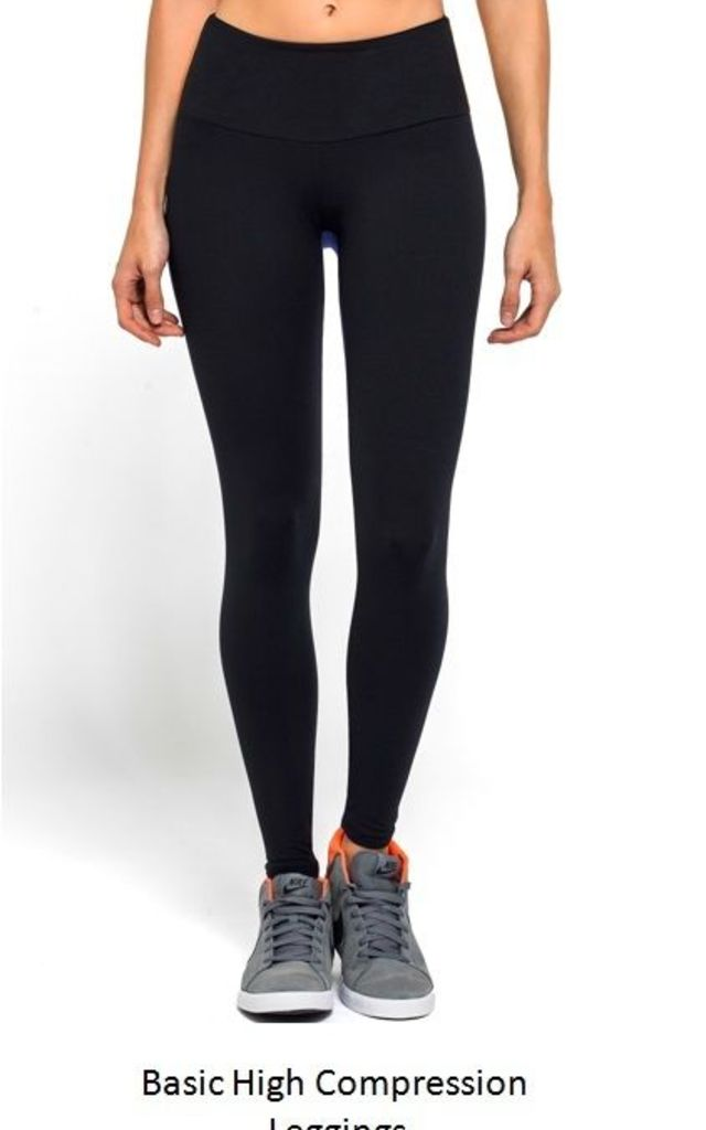 BLACK BASIC HIGH COMPRESSION LEGGINGS by Mirelle Activewear