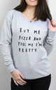 Buy Me Pizza Scoop Neck Sweater by Letter Clothing Company