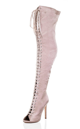 ZENTRIX Ribbon Lace Up High Heel Stiletto Thigh Boots - Beige Satin Style by SpyLoveBuy