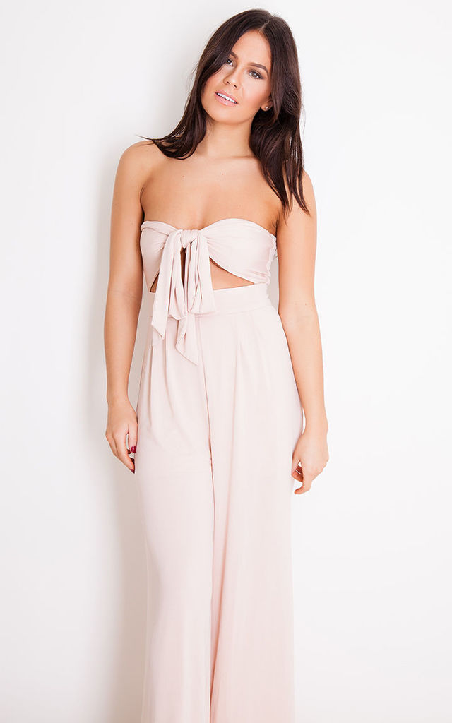 Elise Tie Front Wide leg Jumpsuit Nude by Girl In Mind