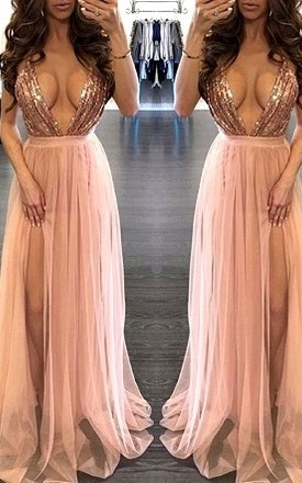 LILIPEARL lace sequin Pink prom party maxi leg split evening gown dress - lili pearl by LILIPEARL