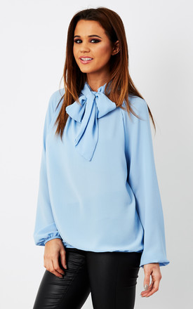 Blue Pussybow Long Sleeve Blouse by Bella and Blue