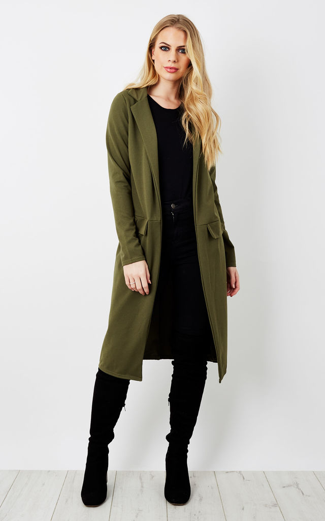 Crepe Longline Duster Coat by Bella and Blue