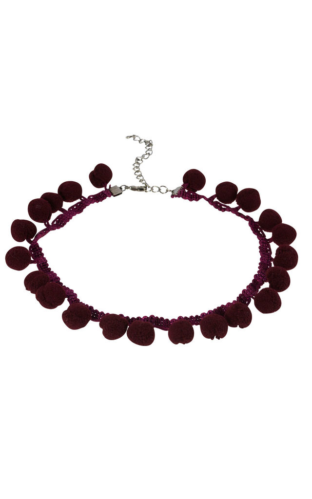 Pom Pom Choker Wine by DOSE of ROSE
