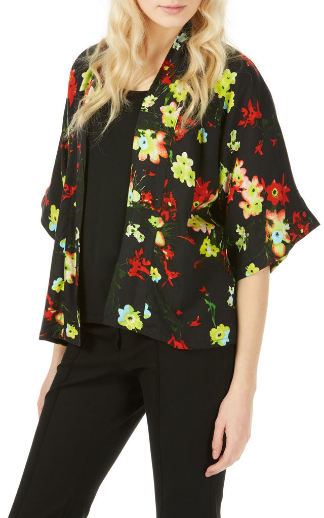Black Floral Print Kimono Jacket by Ruby Rocks