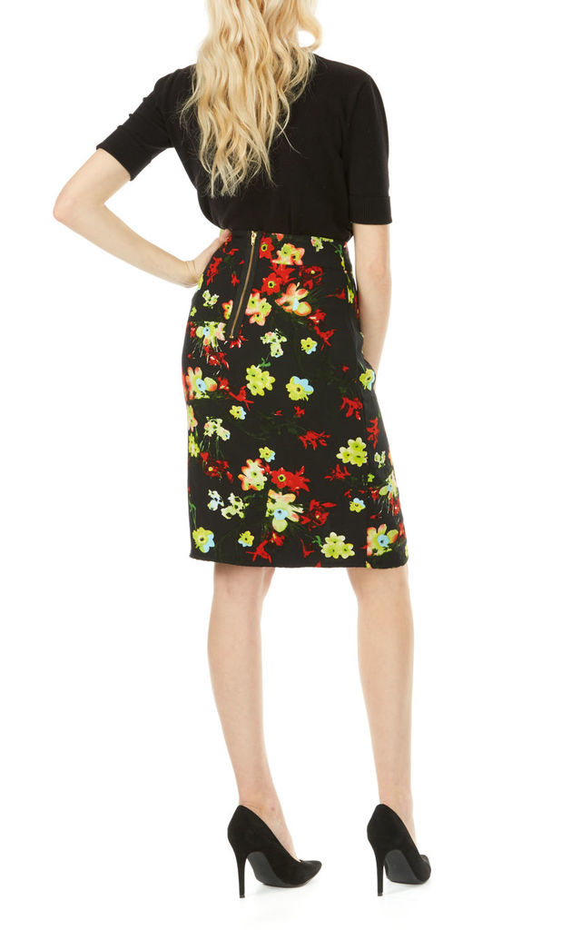 Black Floral Front Split Pencil Skirt by Ruby Rocks