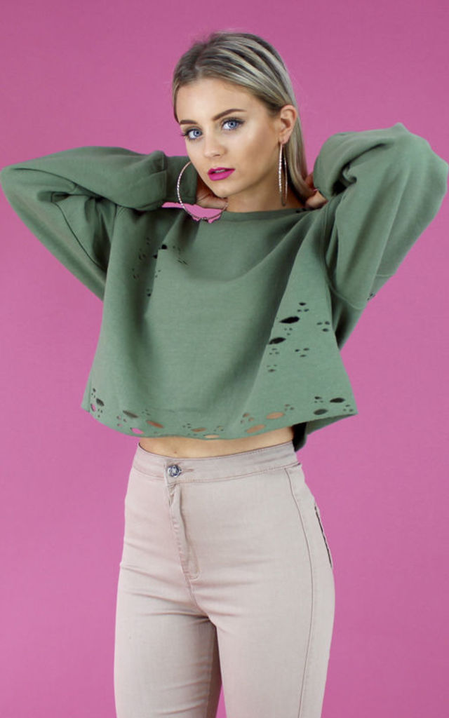 DISTRESSED BOYFRIEND SWEATER- KHAKI by Cats got the Cream