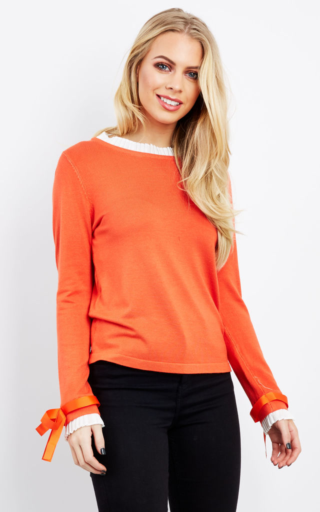 Coral Frill Collar Bow Sleeve Jumper by Lilah Rose