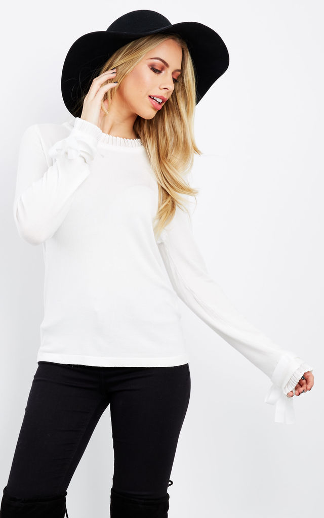 White Frill Collar Bow Sleeve Jumper by Bella and Blue