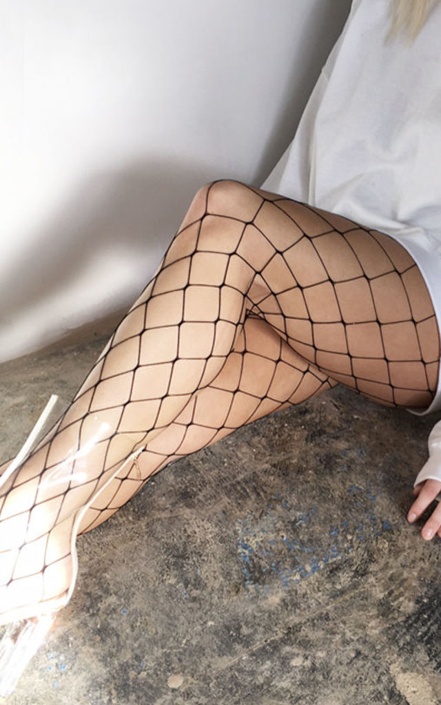 FULL LENGTH FISHNET DIAMOND BLACK TIGHTS by Cats got the Cream