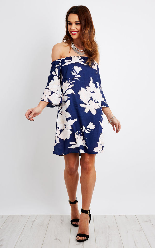 Large Floral Bardot Flare Sleeve Dress by Lilah Rose