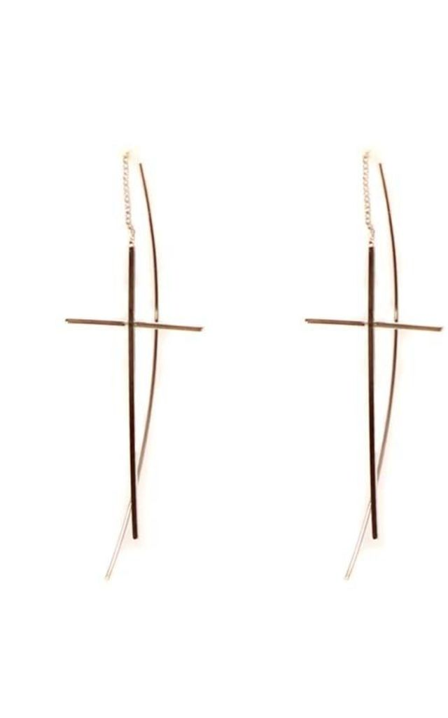 CROSS PULL THOUGH EARRINGS by EPITOME JEWELLERY