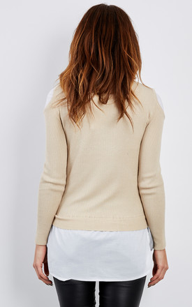 Shirt with beige cold shoulder jumper by Lilah Rose