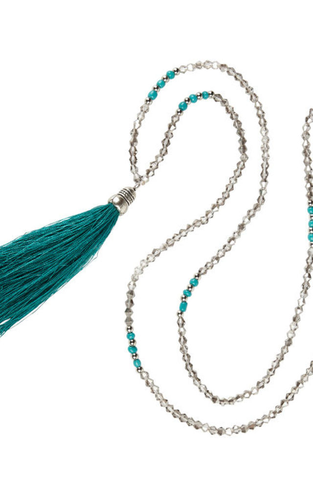 Emerald Green Mala Bead Necklace by Helix and Felix