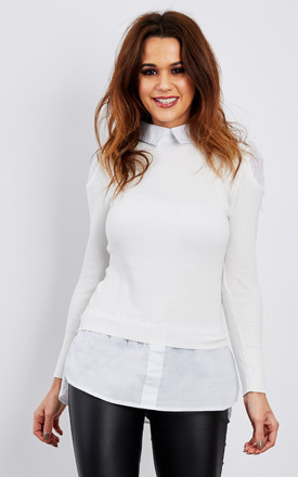 Shirt with cream cold shoulder jumper by Lilah Rose