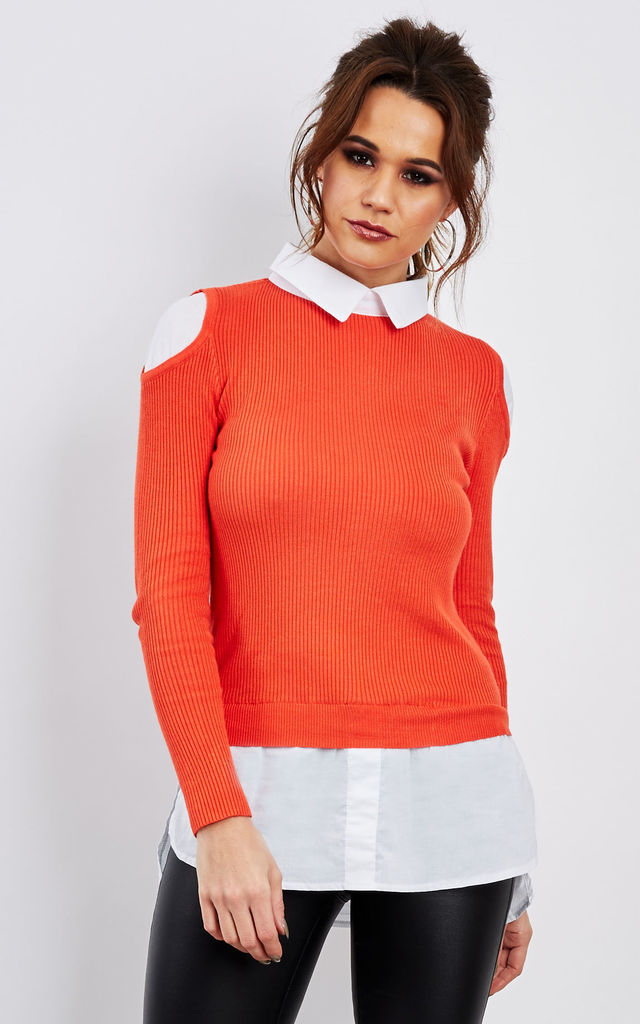 Shirt with coral cold shoulder jumper by Bella and Blue