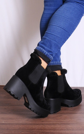 Black Faux Suede Chelsea Ankle Boots Platforms by Shoe Closet