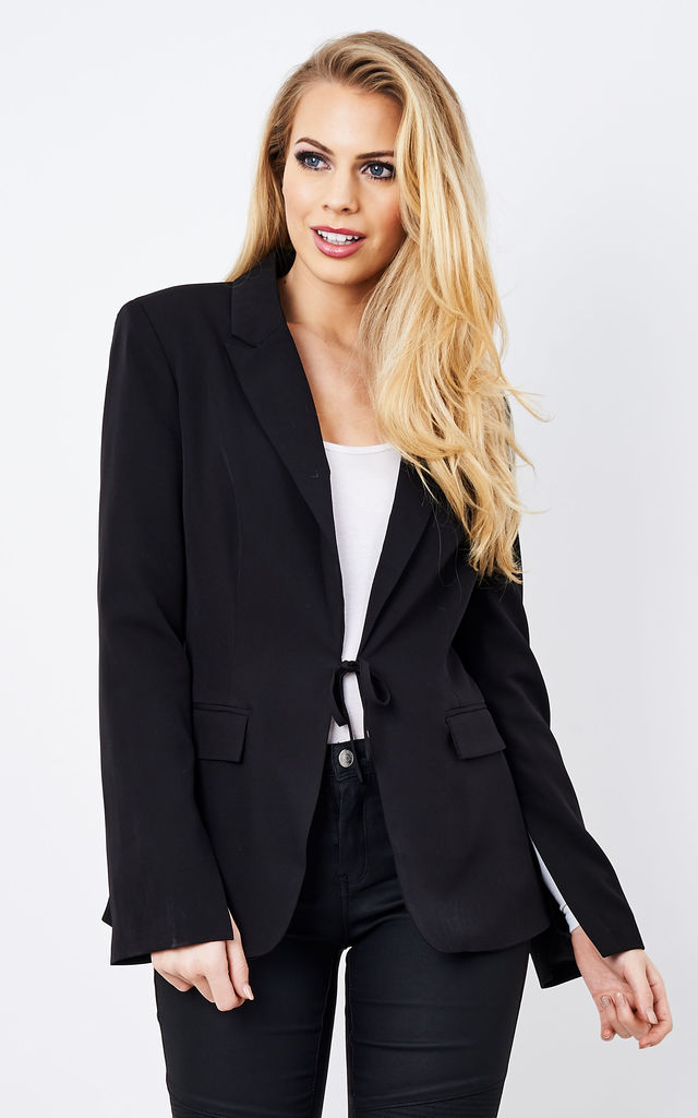 Lightweight Black Blazer with Bell Sleeves & Fabric Tie by UNIQUE21