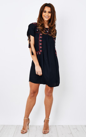 Embroidered Black Short Sleeve Dress with Sleeve Tassel by Glamorous