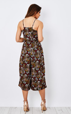 BLACK MUSTARD RED FLORAL JUMPSUIT by Glamorous