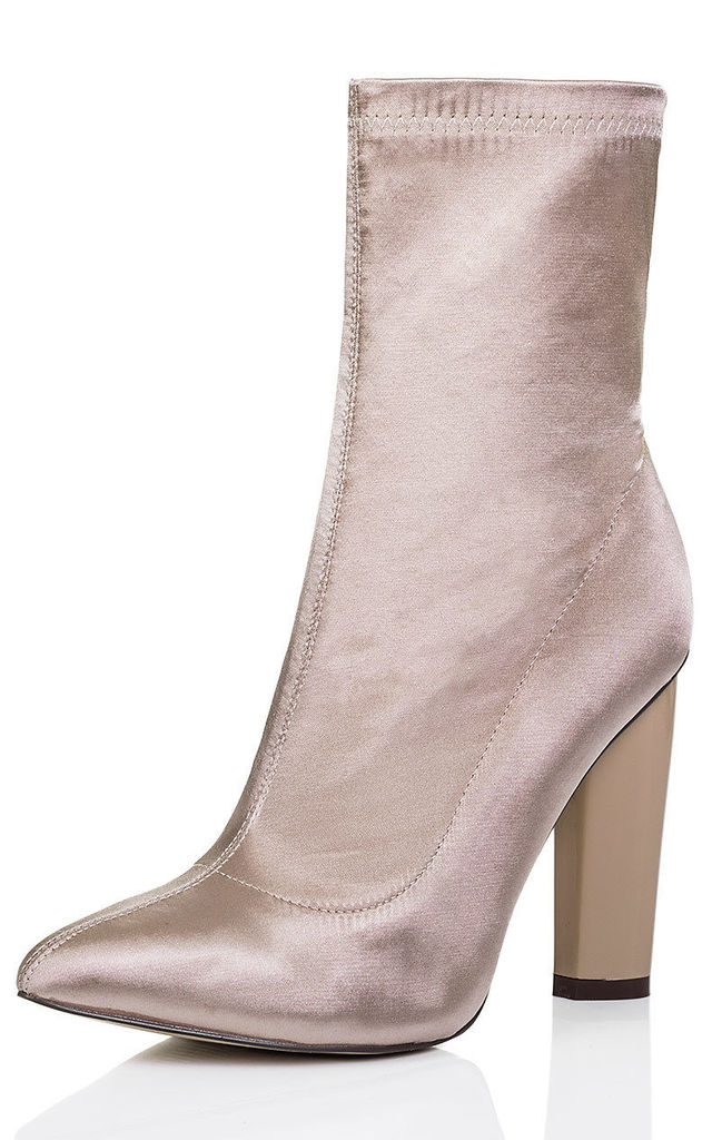 RHINO Fitted Sock Pointed Toe Block Heel Ankle Boots Shoes - Beige Satin Lyrca Style by SpyLoveBuy